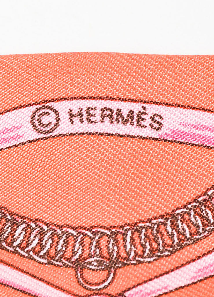 Hermes Coral and Maroon Silk Horsebit Print Twilly Scarf Brand