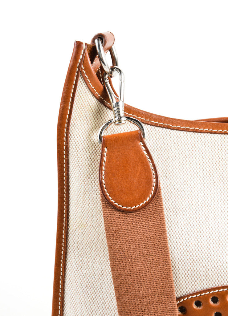 Hermes Cream Brown Canvas Leather 'H'Logo Crossbody Bag Detail 3