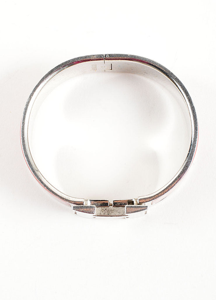 "Hermes Silver Palladium and Red Enameled ""Clic Clac"" H Bangle Bracelet Topview"