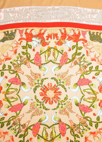 "Hermes Tan and Red Cashmere and Silk ""Early America"" 140cm Scarf Detail"