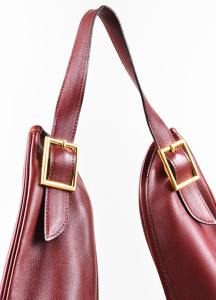 "Hermes ""Sienne"" Red and Gold Toned Leather Buckle ""Massai GM"" Shoulder Hobo Bag Detail 2"