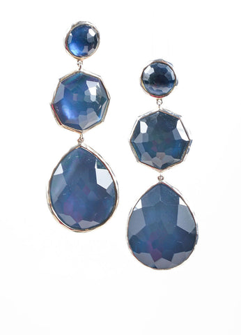 Ippolita Sterling Silver and Blue Stone Drop Earrings Front