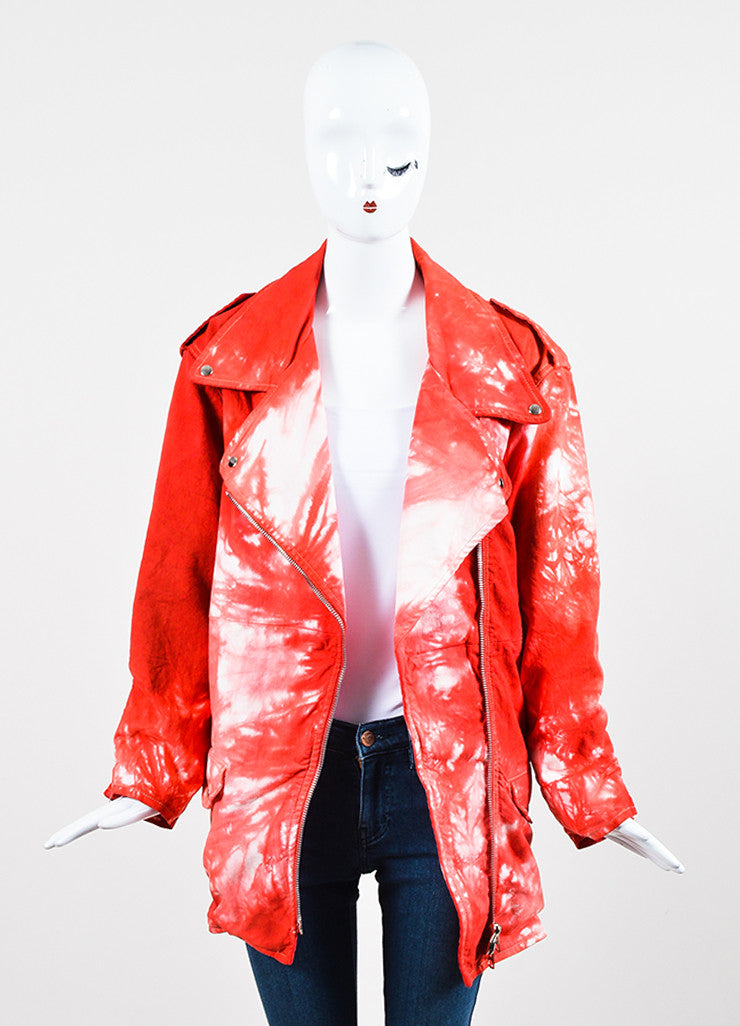 "Red and White Isabel Marant Stretch Cotton Denim Tie Dye Moto ""Idini"" Jacket Frontview"