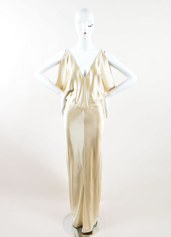 J. Mendel Champagne Satin Open Back V Neck Draped Gown Frontview