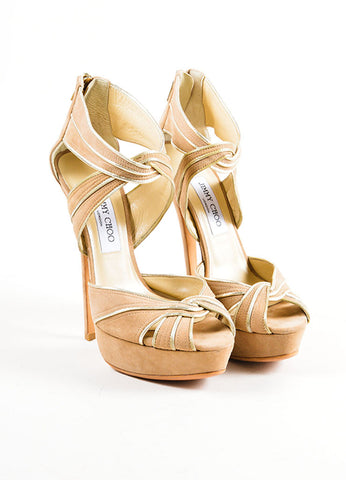 Beige and Metallic Gold Jimmy Choo Suede Piped Ultra High Platform Sandals Frontview
