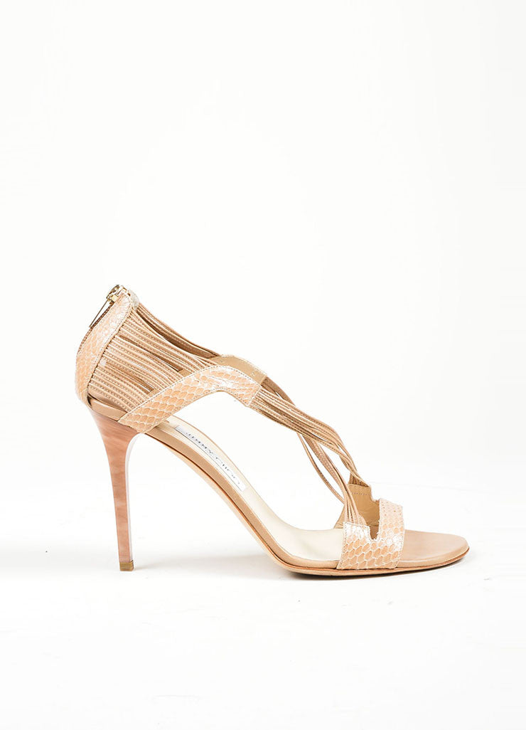 """Foundation"" Nude Snakeskin Leather High Heel Jimmy Choo ""Cat"" Sandals Sideview"