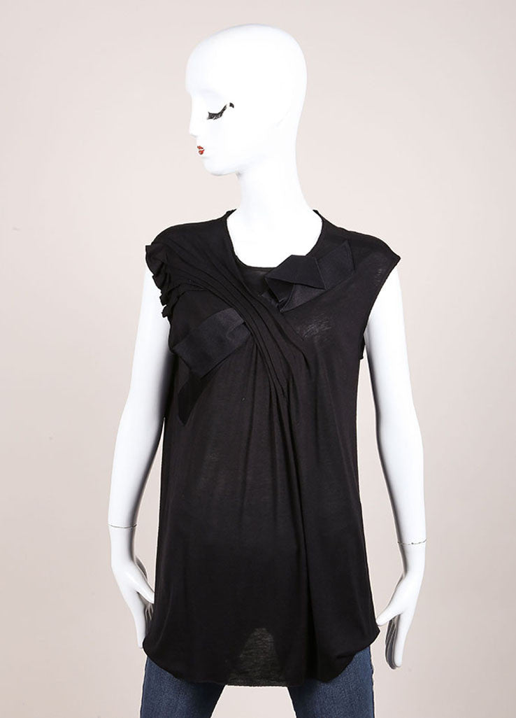Lanvin Black Knit Ribbed Bow Pleated Sleeveless Top Frontview