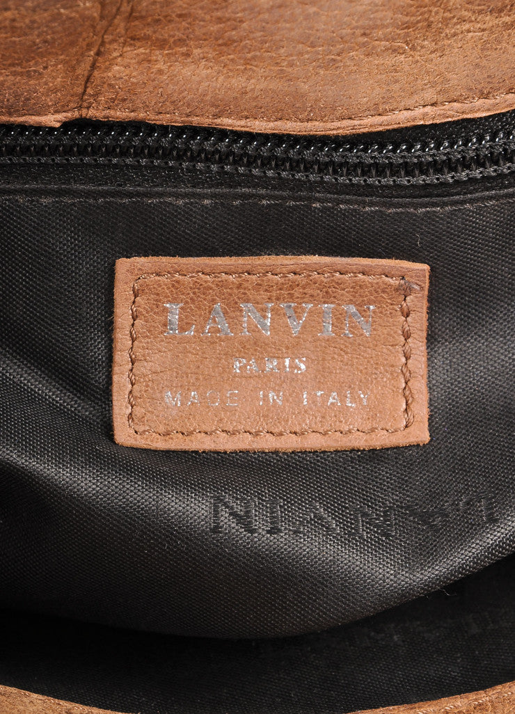 Lanvin Brown Leather Ribbed Flap Chain Shoulder Bag Brand