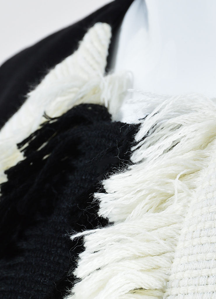Black and Cream  Lanvin Knit Fringe Sleeveless Top Detail