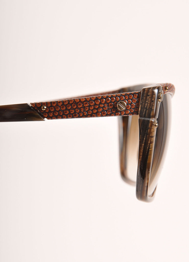 "Lanvin New With Tags Brown Snakeskin Plastic ""SLN 501"" Shield Sunglasses Detail"
