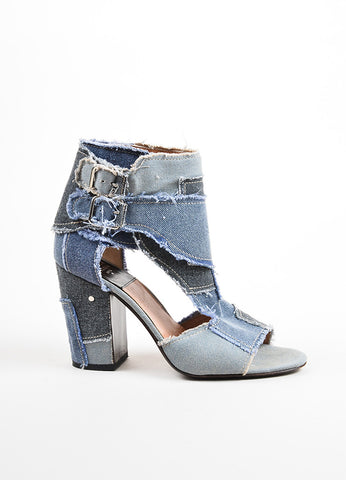 Laurence Dacade Blue Denim Frayed Patchwork Open Toe Cutout Booties Sideview