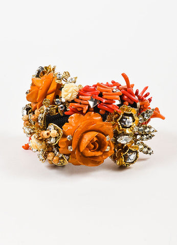 Black, Coral, and Gold Toned Lawrence Vrba Floral Rhinestone Statement Wrap Bracelet Frontview