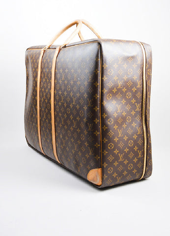 "Brown and Tan Louis Vuitton Monogram Canvas ""Sirius 70"" Suitcase Sideview"
