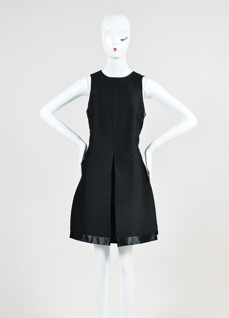 Black Louis Vuitton Silk Seamed Vented Pleat Sleeveless Dress Frontview