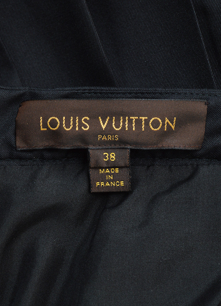 Louis Vuitton Black Silk and Wool Velvet Iridescent Trim Pleated Skirt Brand