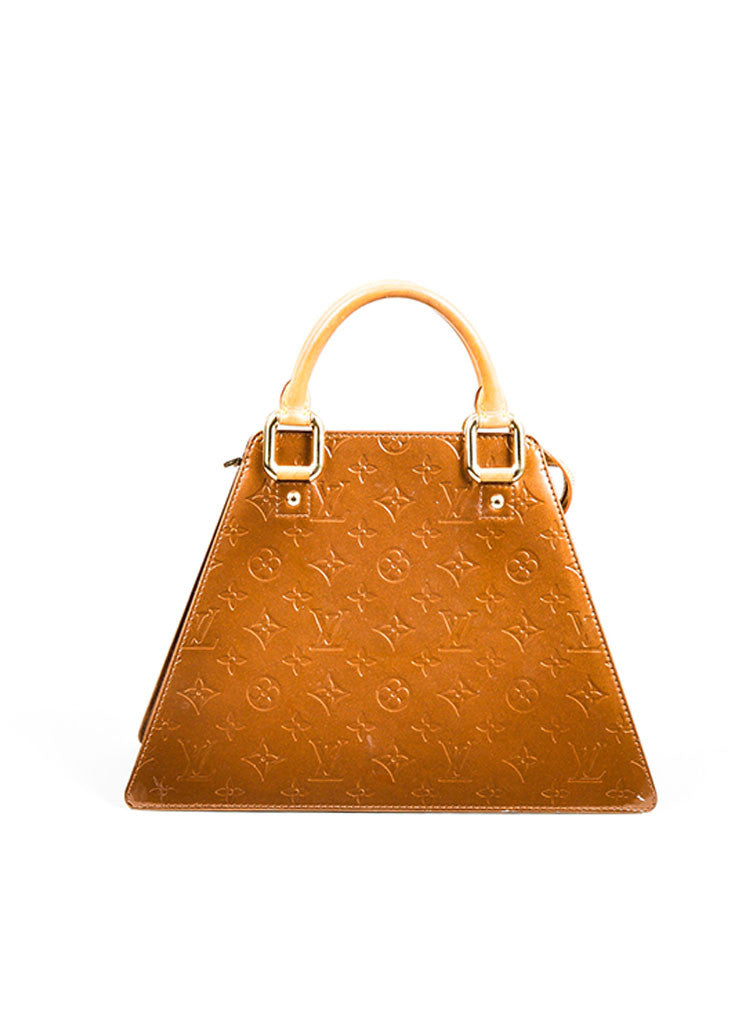 "Bronze Louis Vuitton Monogram Vernis ""Forsyth GM"" Geometric Tote Bag Frontview"