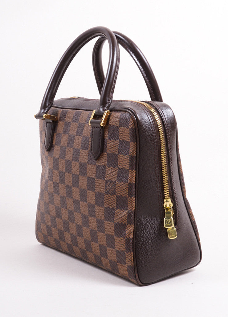 "Louis Vuitton Brown Canvas and Leather Checkered ""Damier Ebene Brera"" Tote Bag Sideview"