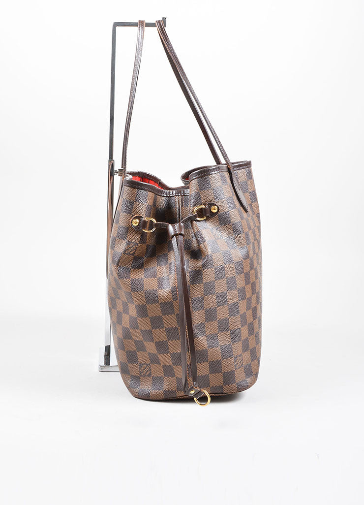 "Louis Vuitton Brown Coated Canvas ""Damier"" Tote Handbag Side"