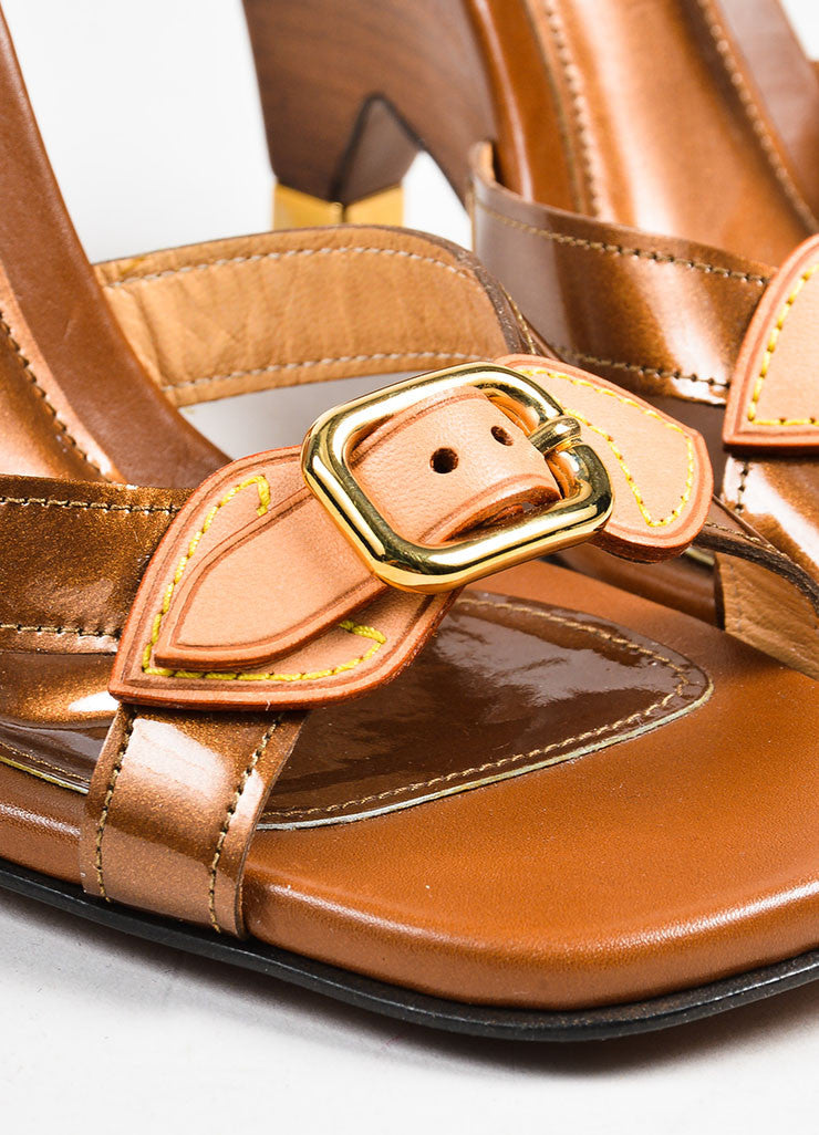 Louis Vuitton Brown Patent Leather Buckle Wooden Wedge Slide Sandals Detail