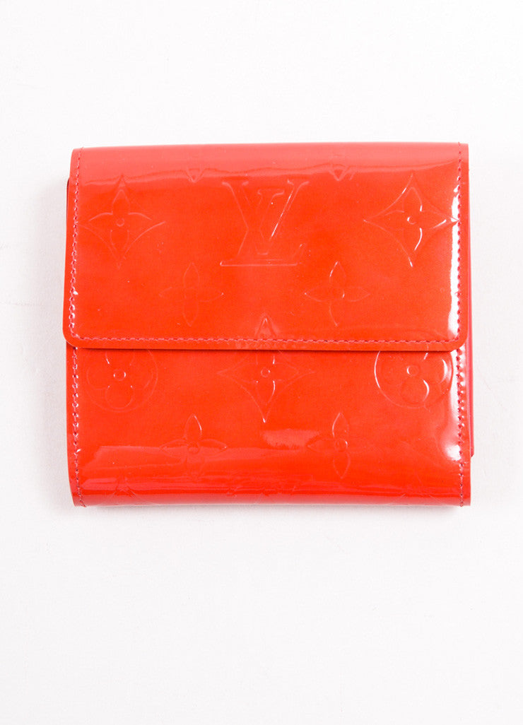 "Louis Vuitton Red Monogram Vernis ""Elise"" Fold Wallet Frontview"