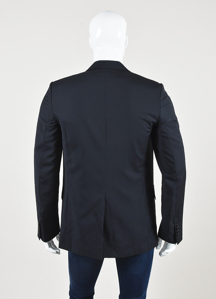 Men's Christian Dior Black and Navy Geometric Detail Jacket Backview