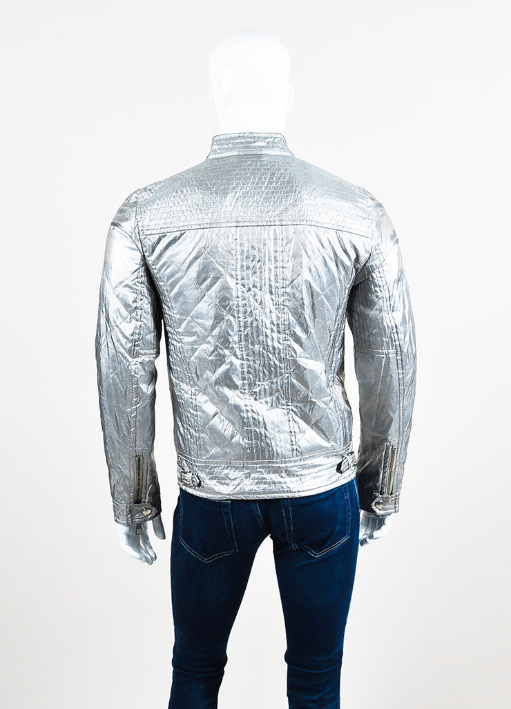 Men's Dolce & Gabbana Metallic Silver Quilted Moto Jacket Back