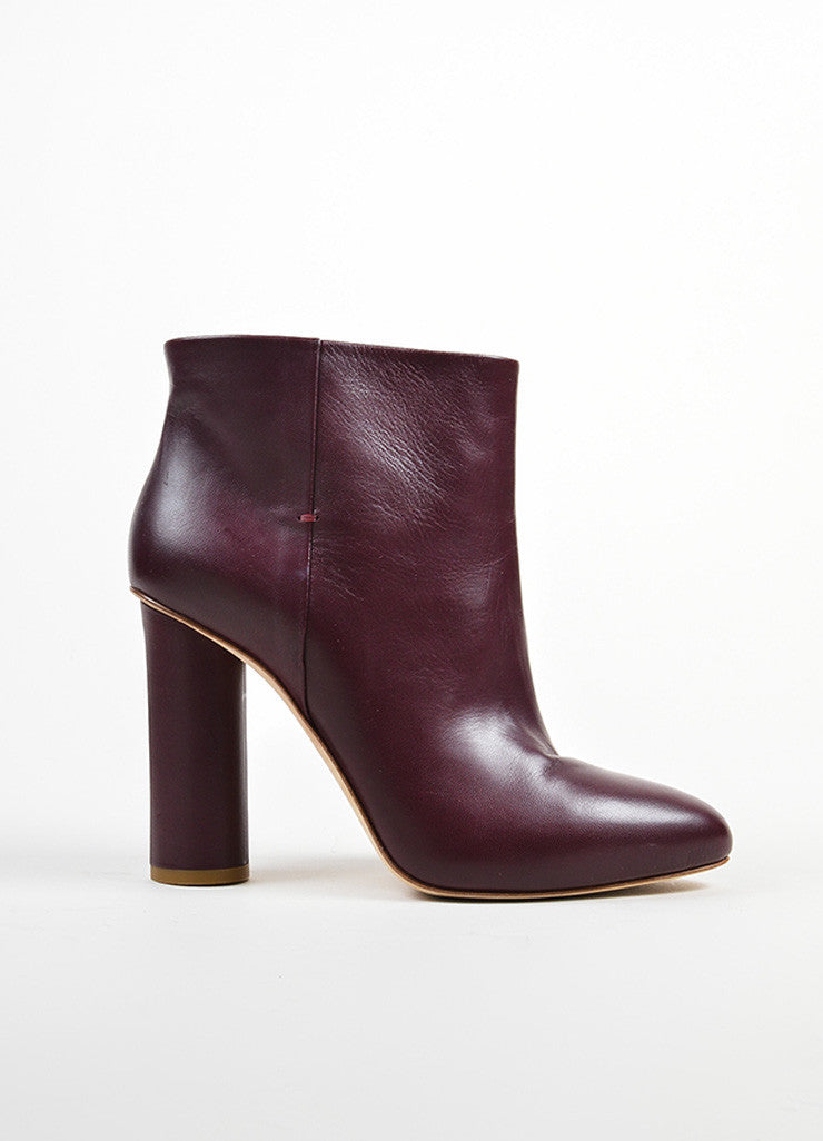 Maiyet Bordeaux Leather Almond Toe Pull On Ankle Booties Sideview