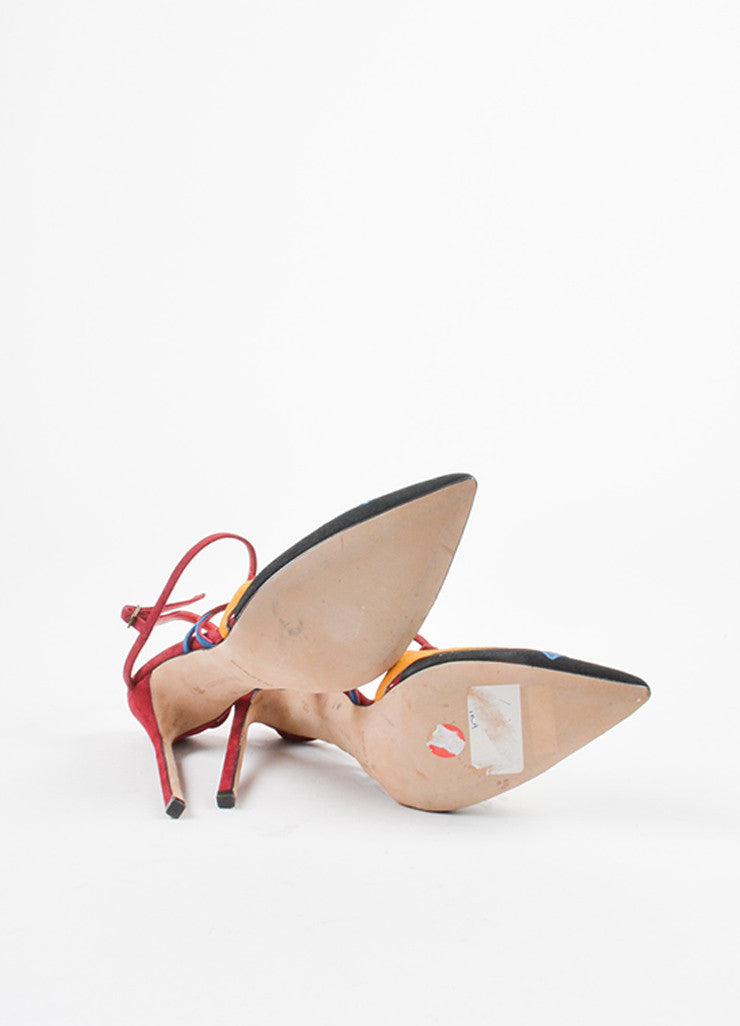 Manolo Blahnik Multicolor Suede Abstract Pointed Toe Slingback Pumps Outsoles