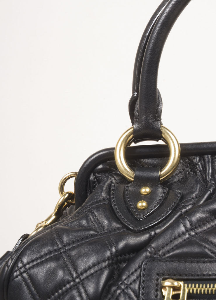 "Marc Jacobs Black Leather Quilted Chain Strap ""Stam"" Bag Detail 2"