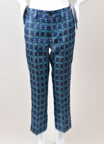 Marc Jacobs Blue and Black Metallic Silk Windowpane Plaid Cropped Trousers Frontview