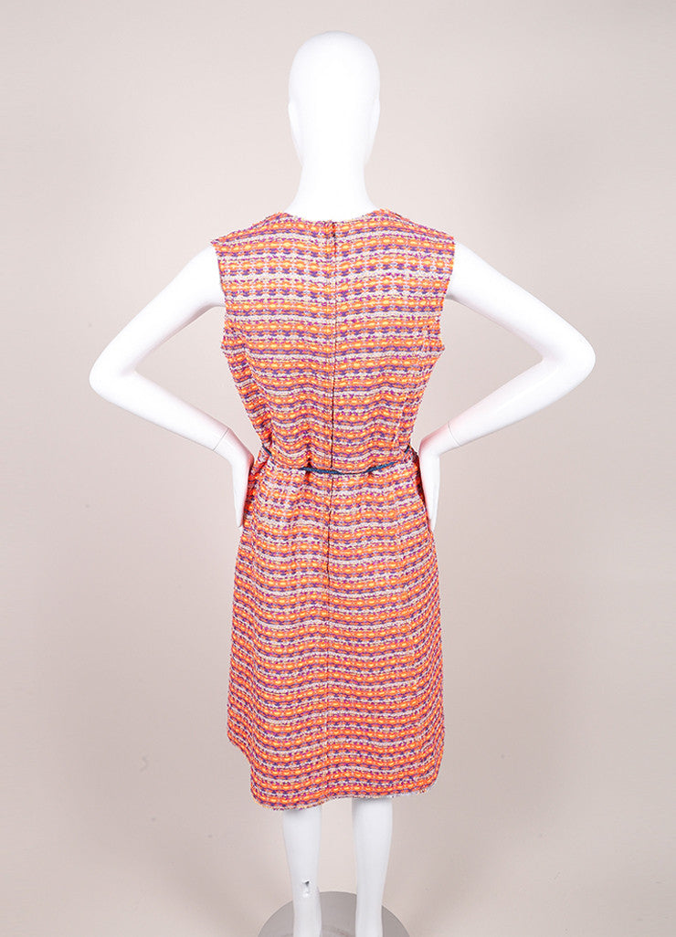 Marc Jacobs New With Tags Orange, Purple, and Multicolor Woven Tweed Belted Dress Backview