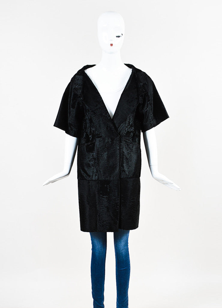 ¥éËMarni Black Pony Hair Fur Patched Wrap Front Short Sleeve Coat Frontview 2