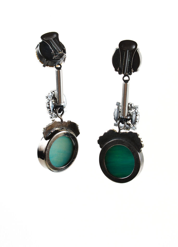 Marni Green Horn Stone Swarovski Crystal Pyrite Accent Drop Earrings Backview