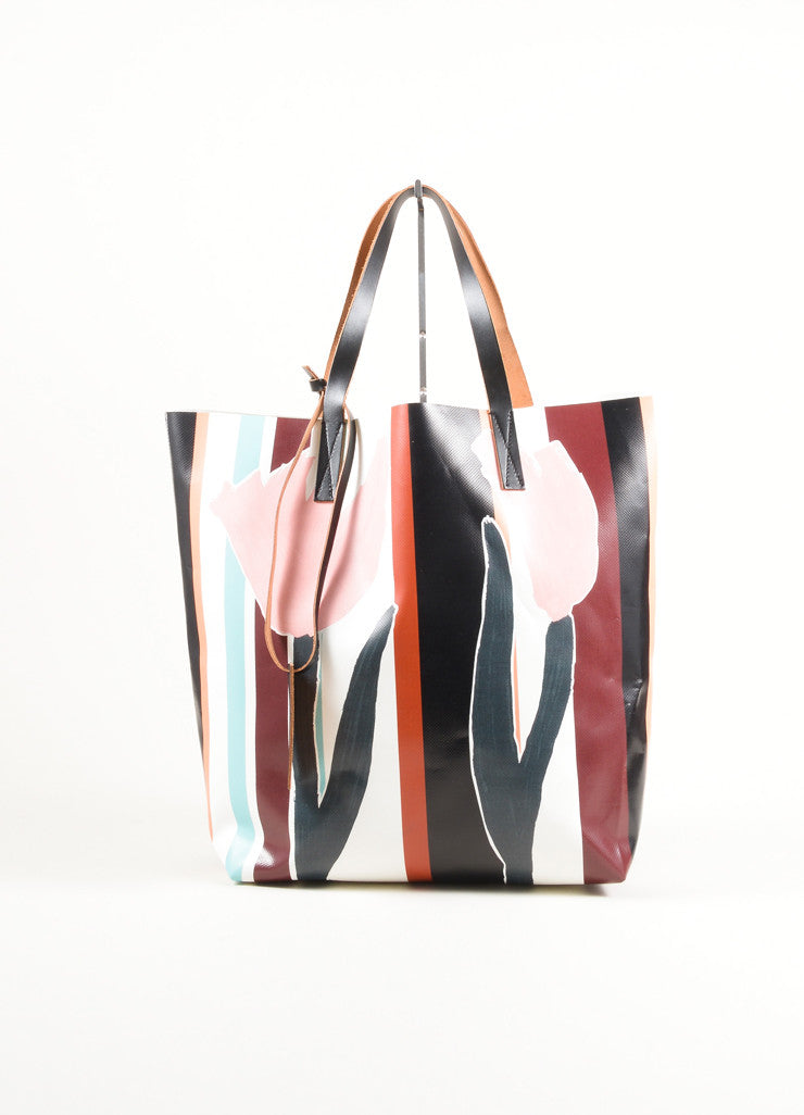 "Marni Multicolor Floral Painted PVC ""Fosteriana"" Tote Bag Frontview"