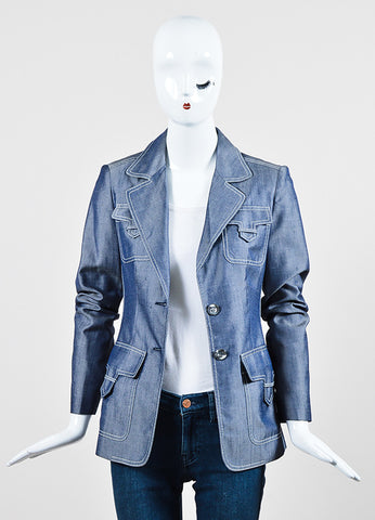 Michael Kors Navy Blue and White Silk Twill Denim Button Up Jacket Frontview