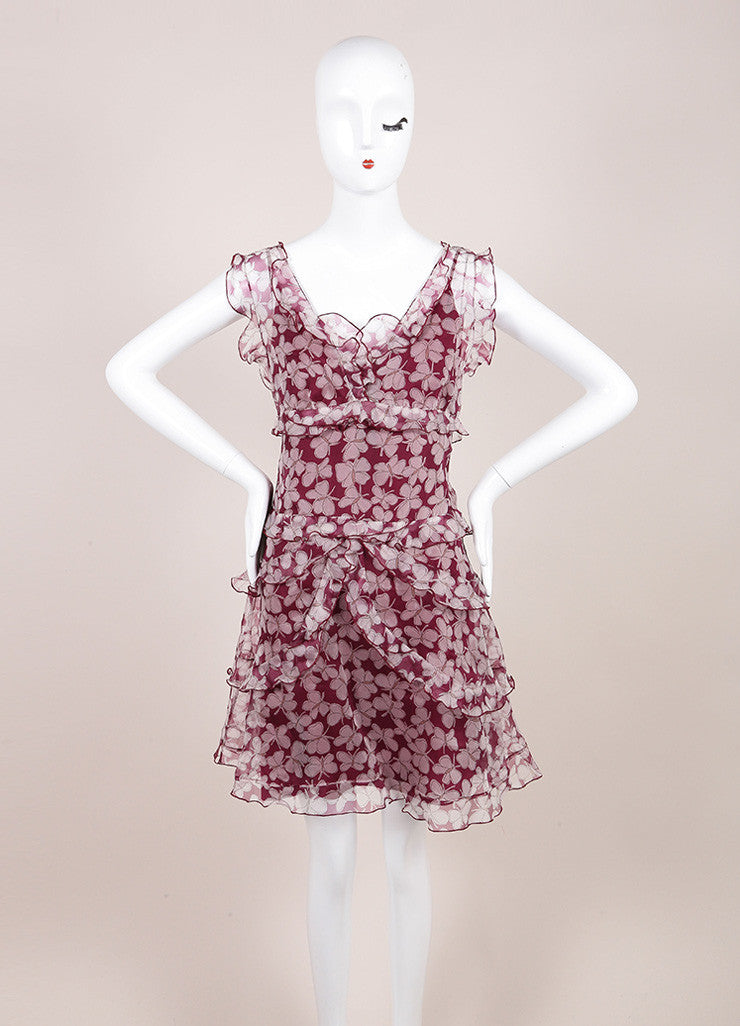 Nina Ricci Purple and White Butterfly Print Silk Organza Dress Frontview