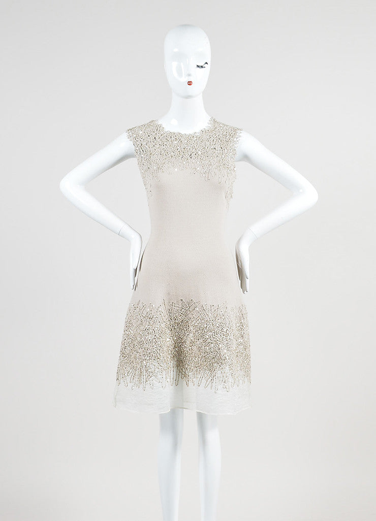 Beige Oscar de la Renta Wool and Silk Blend Embroidered Sequin Sleeveless Dress Frontview