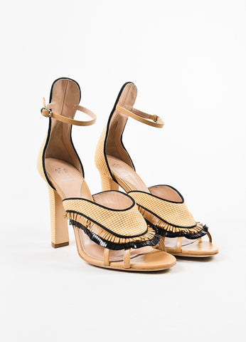 "Paula Cademartori Beige and Black Leather Raffia Fringed ""Nancy"" Sandals Frontview"