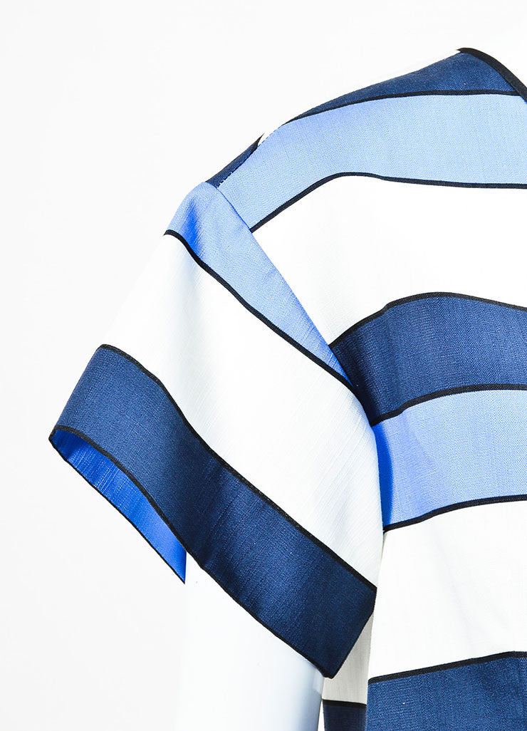 Piazza Sempione Blue and White Linen Striped Short Sleeve Boxy Top Detail
