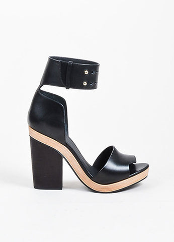 Black Pierre Hardy Leather Wooden Block Heel Sandals Sideview
