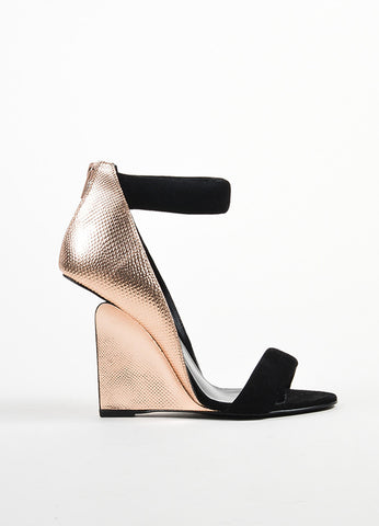 "Black Pierre Hardy Rose Gold Watersnake Suede ""Amanda"" Wedges Side"