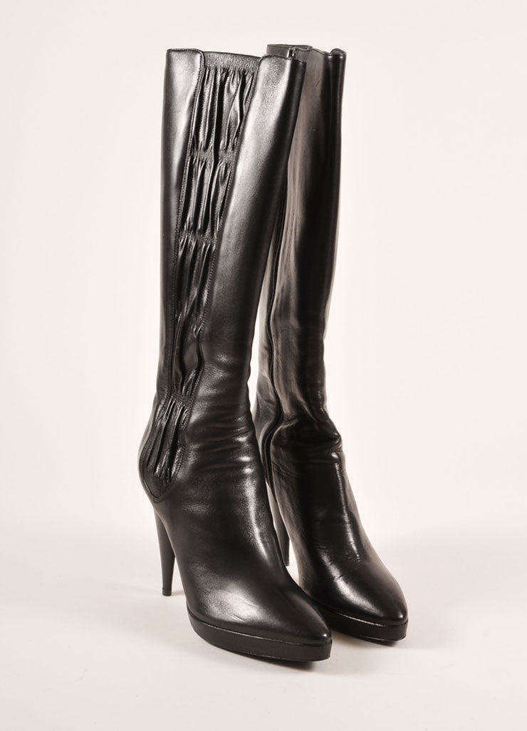 Prada Black Ruched Panel Knee High Pointed Toe Heeled Leather Boots Frontview