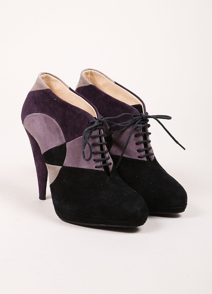 Prada Black and Purple Suede Patchwork Color Block Lace Up Platform Booties Frontview