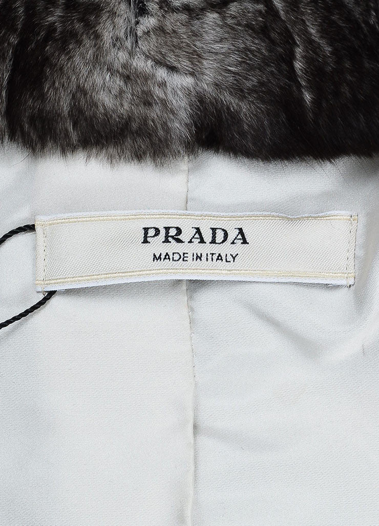 Prada Grey and White Chinchilla Fur Channeled Cropped Short Sleeve Jacket Brand
