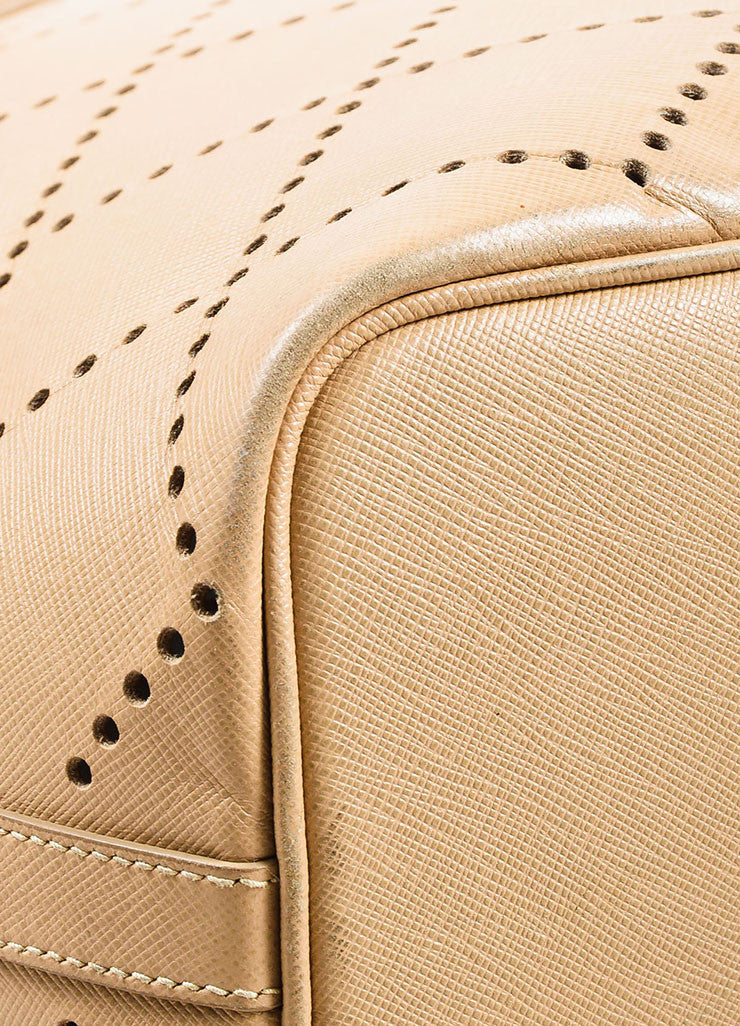 "Prada Nude Saffiano Leather Perforated ""Fori"" Tote Bag Detail"