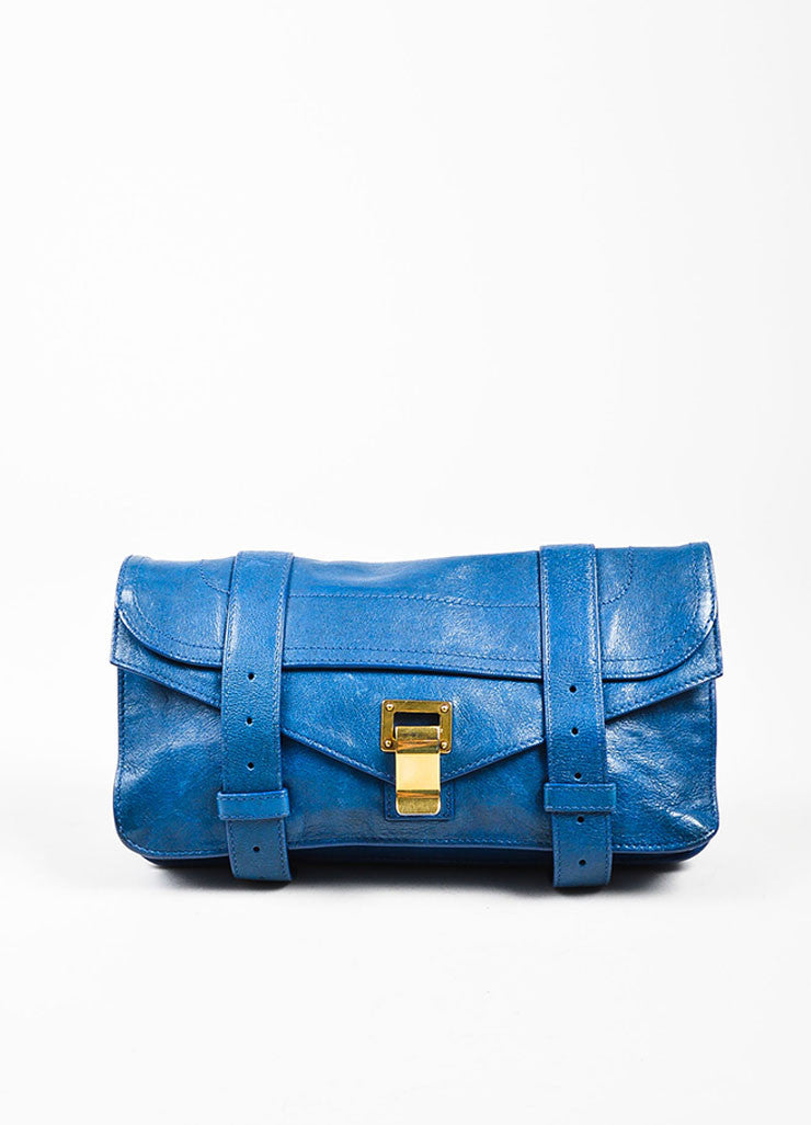 "Proenza Schouler Blue Leather Gold Toned Closure Belt Detail ""PS1"" Clutch Bag Frontview"