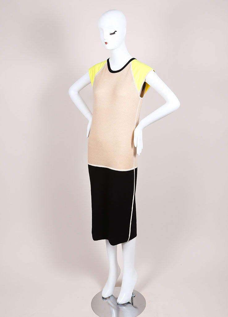 Reed Krakoff New With Tags Black, Tan, and Yellow Colorblock Cap Sleeve Knit Dress Sideview