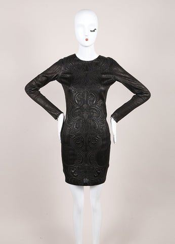 Roberto Cavalli New With Tags Black Leather Paneled Embroidered Bodycon Dress Frontveiw