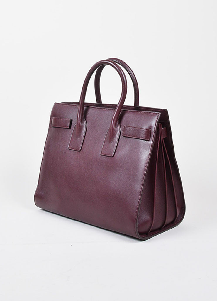 "Burgundy Saint Laurent Leather ""Small Sac De Jour"" Tote Bag Sideview"