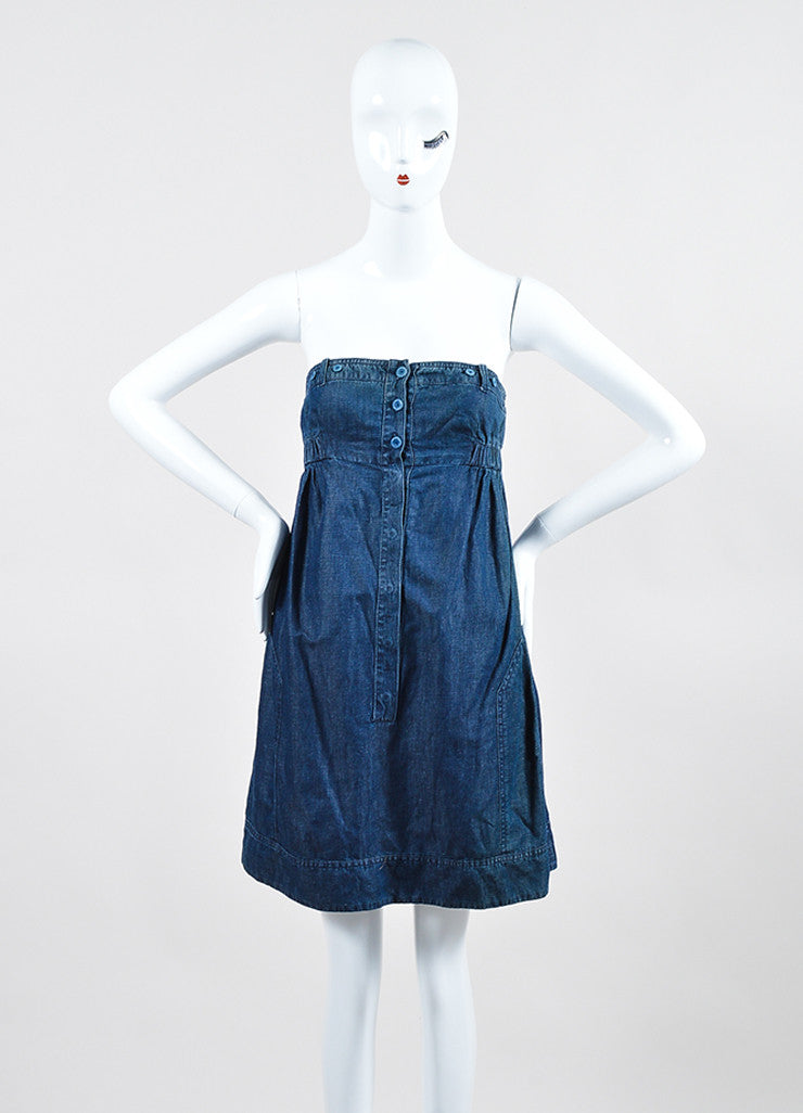 See by Chloe Blue Chambray Strapless Dress Frontview
